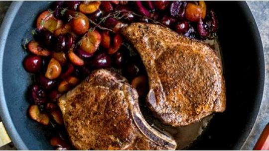 Cherries with Pork Chops